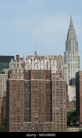 Chrysler Building and Tudor City Residence apartment complex, Southern edge of Turtle Bay, seen from a ferry on - Stock Photo