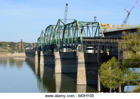 Bridge replacement project. Tennessee Department of Transportation replacing J.M. Walters Bridge over French Broad - Stock Photo