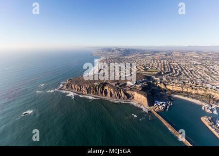 Aerial view of pacific ocean shoreline in Dana Point, California. - Stock Photo