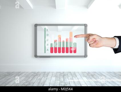 Hand pointing at chart statistics on wall frame - Stock Photo