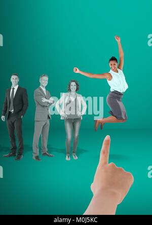 Hand choosing a business woman on a green background with business people - Stock Photo