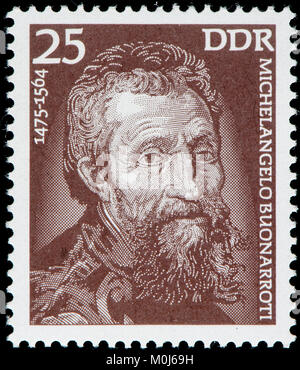 East German postage stamp (1975) : Michelangelo (di Lodovico Buonarroti Simoni) (1475 – 1564) Italian sculptor, painter, architect