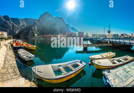 Panorama of marble Omis town scenery in Dalmatia region, Croatia Mediterranean. - Stock Photo