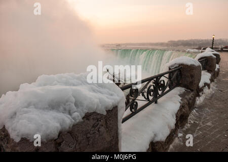 The Horseshoe Falls shot from Niagara Falls Canada during winter. - Stock Photo