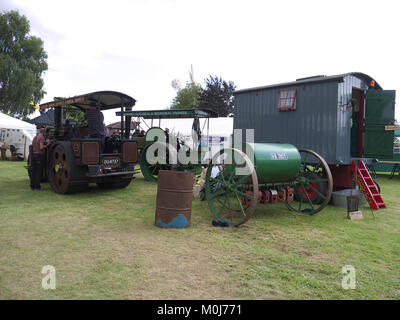 Vintage road mending/making equipment including living van on display at the GCMES gala - Stock Photo