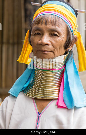 Asia,Thailand,Chiang Mai,Ban Huay Pa Rai Hill Tribe Village,long neck woman - Stock Photo