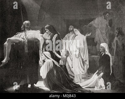 The burial of a Christian martyr in ancient Rome. Christians were the targets of persecution because of thier refusal - Stock Photo
