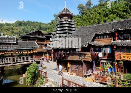 Zhaoxing Village, Liping County, Guizhou Province, China - Stock Photo