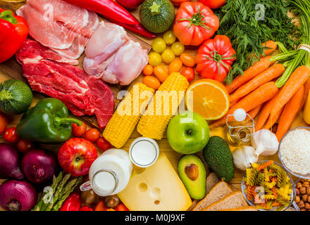 Different types of food from the food pyramid seen from above. - Stock Photo