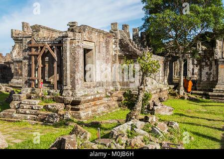 Buddhist monks in Gopura II; Preah Vihear, Cambodia - Stock Photo