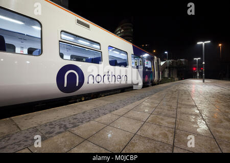 Arriva Northern Rail logo on a class 158 express sprinter train at  Manchester Victoria  station - Stock Photo