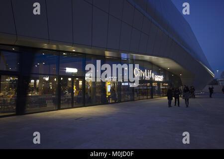 The CityLife Shopping Center entrance, Milan, Italy - Stock Photo