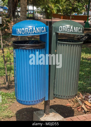 Public Litter Bins In A Park For Recycling Organic And Inorganic Waste In Santa Cruz Bay Oaxaca State, Huatulco, - Stock Photo