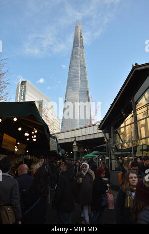View from Borough Market of The Shard, London - Stock Photo