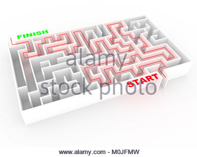 maze or labyrinth in white with solution. abstract concept of good direction and success in business. 3d render. - Stock Photo
