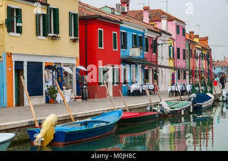 Colourful  Houses, Isola di Burano, Venice - Stock Photo