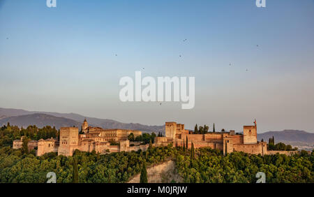 Arabic fortress of Alhambra at sunset in Spain. - Stock Photo