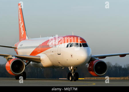 EasyJet, Airbus A320-214, landing, on taxiway, rolling, Munich Airport, Upper Bavaria, Germany - Stock Photo