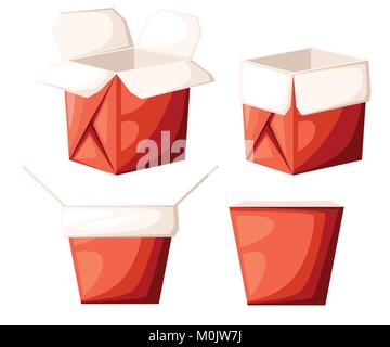 Chinese restaurant take-out red food box in different shape open and close vector illustration isolated on white - Stock Photo