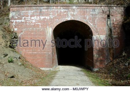 South Portal of Bonds Creek Tunnel on the North Bend Rail Trail in Ritchie County West Virginia. Located near Cairo - Stock Photo
