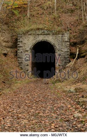 North Portal of Sherwood Tunnel AKA Long Run Tunnel on North Bend Rail Trail between Salem and West Union West Virginia. - Stock Photo