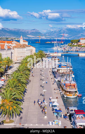 TROGIR, CROATIA - SEPTEMBER 18: Trogir old town UNESCO world heritage site waterfront promenade on a sunny day September - Stock Photo
