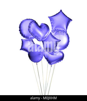 Eight blue balloons in the shapes of a ball, hearts and stars isolated on white background. 3D rendering. - Stock Photo