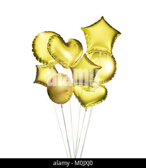 Eight golden balloons in the shapes of a ball, hearts and stars isolated on white background. 3D rendering. - Stock Photo