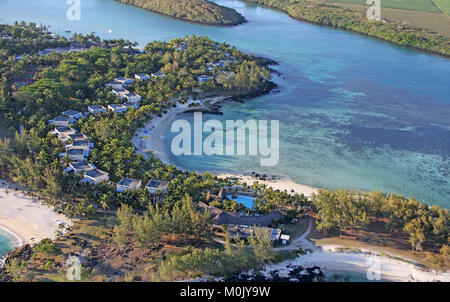 View of rocky coastline with beaches from a helicopter, Savanne District, The Republic of Mauritius. - Stock Photo
