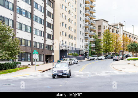 Silver Spring, USA - September 16, 2017: Downtown area of city in Maryland with cars on street, apartment condo - Stock Photo