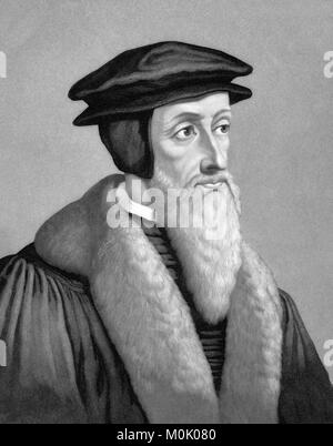 John Calvin (1509-1564), portrait of the French theologian and protestant reformer. An 1886 engraving by John Sartain - Stock Photo