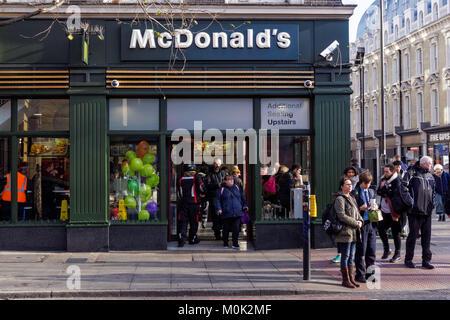 McDonald's restaurant in King's Cross, London England United Kingdom UK - Stock Photo