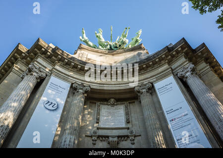 Paris, France - May 21, 2017: The southern angle of the main facade of the Grand Palais is overhanged by a copper - Stock Photo