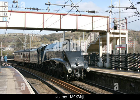 A4 Steam Locomotive Sir Nigel Gresley on the way from Grosmont to Carnforth - Shipley, Yorkshire, UK - 15th April - Stock Photo