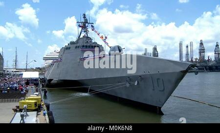 The U.S. Navy Independence-class littoral combat ship USS Gabrielle Giffords sits at the Port of Galveston Pier - Stock Photo