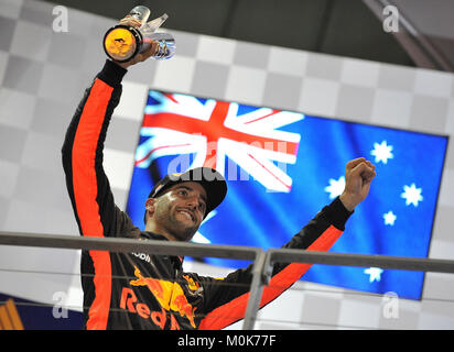 2nd Place; Daniel Ricciardo, Infiniti Red Bull Racing. 2017 Formula 1 Singapore airlines, Singapore Grand Prix, - Stock Photo