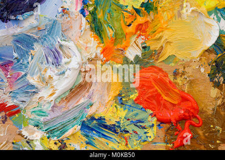 Artists oil paints multi coloured close up semi abstract - Stock Photo