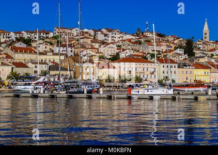 Mali Losinj harbour, on island of Losinj, Croatia. May 2017. - Stock Photo
