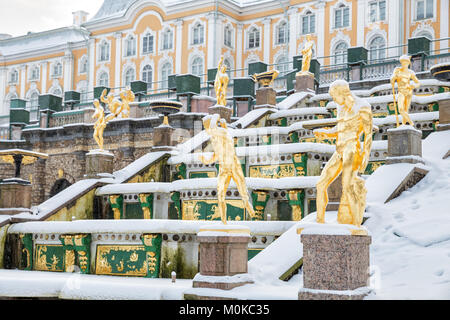 SAINT PETERSBURG, RUSSIA - JANUARY 22, 2018: Winter in Peterhof. Sculptures of the Grand Cascade Fountain  in the - Stock Photo