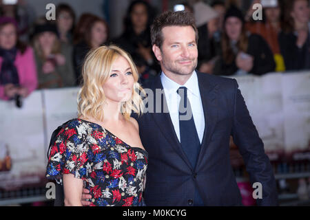 London, UK, 28 October 2015,Sienna Miller,  Bradley Cooper, European Film premiere of 'Burnt' at Vue West End Cinema. - Stock Photo