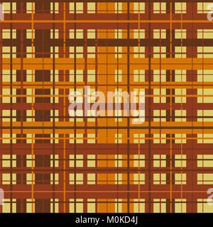 Plaid pattern with criss-crossed lines in dark orange, tan and brown. - Stock Photo
