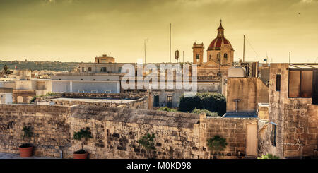 Victoria, Gozo island, Malta: aerial view from the Cittadella - Stock Photo
