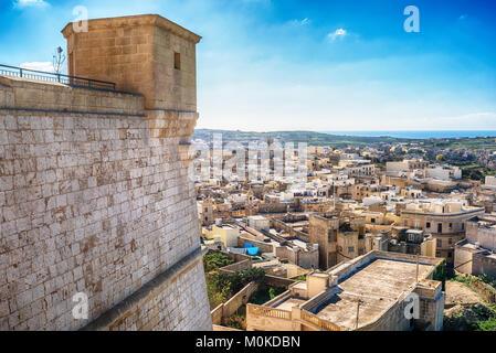 Victoria, Gozo island, Malta: aerial view from the Cittadella - Stock Photo