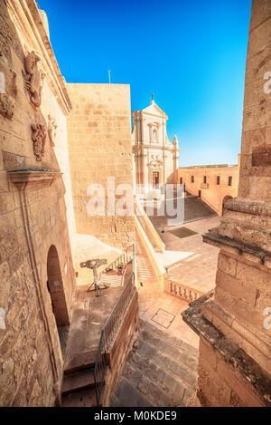 Victoria, Gozo island, Malta: Cathedral of the Assumption in the Cittadella - Stock Photo