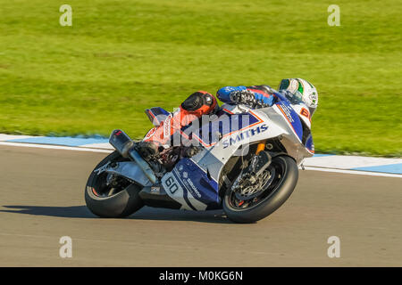 Peter Hickman on the Smiths Racing BMW at the British Superbike Meeting at Donington Park, Castle Donnington, Leicestershire, - Stock Photo