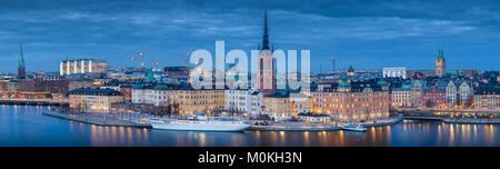 Panoramic view of famous Stockholm city center with historic Riddarholmen in Gamla Stan old town district during - Stock Photo