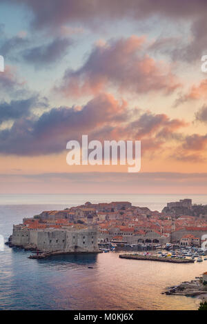 Panoramic view of the historic town of Dubrovnik, one of the most famous tourist destinations in the Mediterranean Sea, at sunset, Dalmatia, Croatia