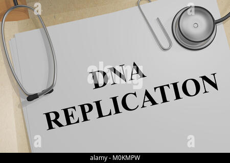 3D illustration of DNA REPLICATION title on a medical document - Stock Photo