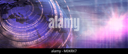 Digital world connection background, futuristic technology concept with lens flare at right edge. - Stock Photo