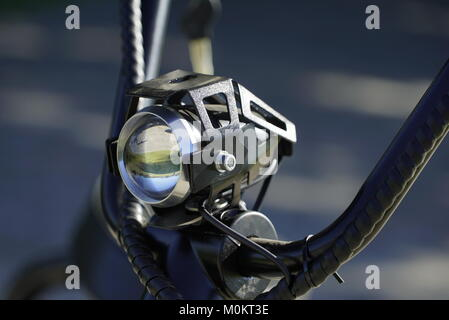 Closeup of Motorcycle handles with low depth of field - Stock Photo
